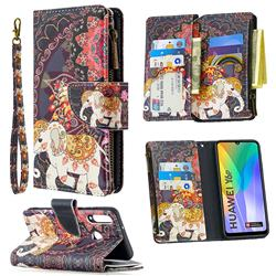 Totem Flower Elephant Binfen Color BF03 Retro Zipper Leather Wallet Phone Case for Huawei Y6p