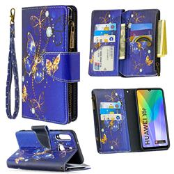 Purple Butterfly Binfen Color BF03 Retro Zipper Leather Wallet Phone Case for Huawei Y6p