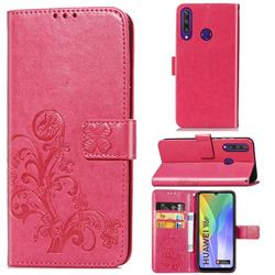 Embossing Imprint Four-Leaf Clover Leather Wallet Case for Huawei Y6p - Rose Red