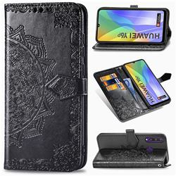 Embossing Imprint Mandala Flower Leather Wallet Case for Huawei Y6p - Black