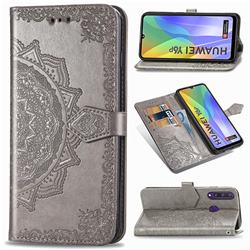 Embossing Imprint Mandala Flower Leather Wallet Case for Huawei Y6p - Gray