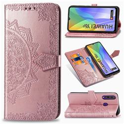 Embossing Imprint Mandala Flower Leather Wallet Case for Huawei Y6p - Rose Gold