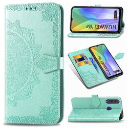 Embossing Imprint Mandala Flower Leather Wallet Case for Huawei Y6p - Green