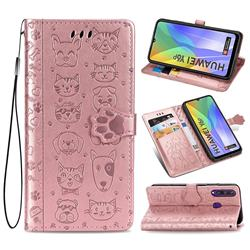 Embossing Dog Paw Kitten and Puppy Leather Wallet Case for Huawei Y6p - Rose Gold