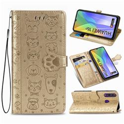 Embossing Dog Paw Kitten and Puppy Leather Wallet Case for Huawei Y6p - Champagne Gold