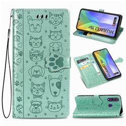 Embossing Dog Paw Kitten and Puppy Leather Wallet Case for Huawei Y6p - Green