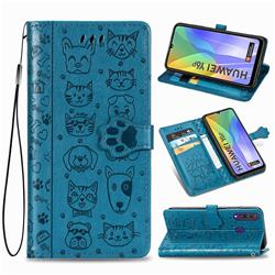 Embossing Dog Paw Kitten and Puppy Leather Wallet Case for Huawei Y6p - Blue
