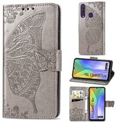 Embossing Mandala Flower Butterfly Leather Wallet Case for Huawei Y6p - Gray