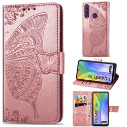 Embossing Mandala Flower Butterfly Leather Wallet Case for Huawei Y6p - Rose Gold