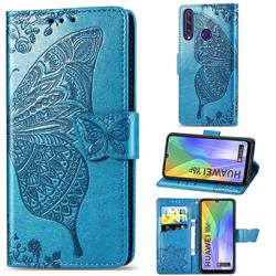 Embossing Mandala Flower Butterfly Leather Wallet Case for Huawei Y6p - Blue