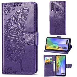 Embossing Mandala Flower Butterfly Leather Wallet Case for Huawei Y6p - Dark Purple