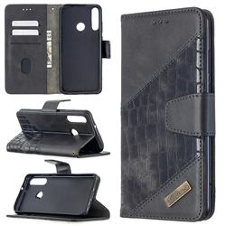 BinfenColor BF04 Color Block Stitching Crocodile Leather Case Cover for Huawei Y6p - Black