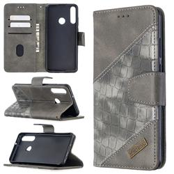 BinfenColor BF04 Color Block Stitching Crocodile Leather Case Cover for Huawei Y6p - Gray