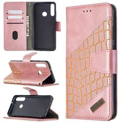 BinfenColor BF04 Color Block Stitching Crocodile Leather Case Cover for Huawei Y6p - Rose Gold