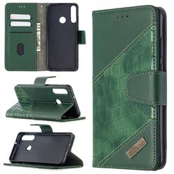 BinfenColor BF04 Color Block Stitching Crocodile Leather Case Cover for Huawei Y6p - Green