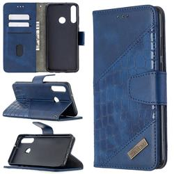 BinfenColor BF04 Color Block Stitching Crocodile Leather Case Cover for Huawei Y6p - Blue