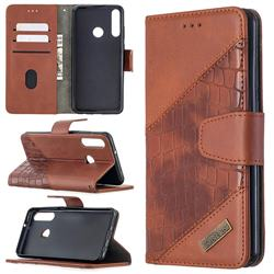BinfenColor BF04 Color Block Stitching Crocodile Leather Case Cover for Huawei Y6p - Brown
