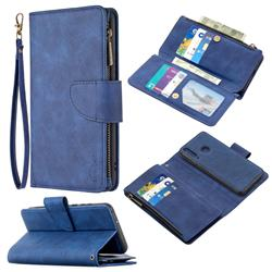 Binfen Color BF02 Sensory Buckle Zipper Multifunction Leather Phone Wallet for Huawei Y6p - Blue