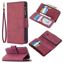 Binfen Color BF02 Sensory Buckle Zipper Multifunction Leather Phone Wallet for Huawei Y6p - Red Wine
