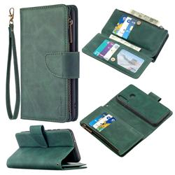 Binfen Color BF02 Sensory Buckle Zipper Multifunction Leather Phone Wallet for Huawei Y6p - Dark Green