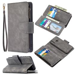 Binfen Color BF02 Sensory Buckle Zipper Multifunction Leather Phone Wallet for Huawei Y6p - Gray