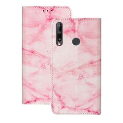 Pink Marble PU Leather Wallet Case for Huawei Y6p