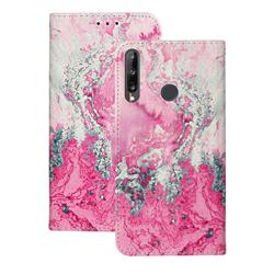 Pink Seawater PU Leather Wallet Case for Huawei Y6p