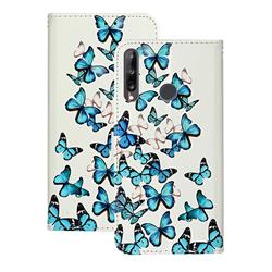 Blue Vivid Butterflies PU Leather Wallet Case for Huawei Y6p