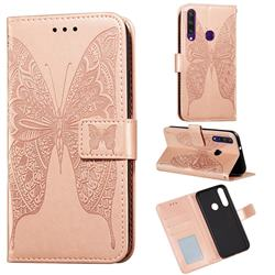 Intricate Embossing Vivid Butterfly Leather Wallet Case for Huawei Y6p - Rose Gold