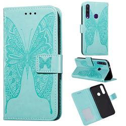 Intricate Embossing Vivid Butterfly Leather Wallet Case for Huawei Y6p - Green