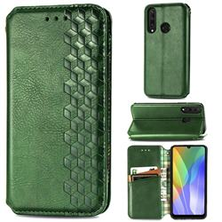 Ultra Slim Fashion Business Card Magnetic Automatic Suction Leather Flip Cover for Huawei Y6p - Green