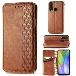 Ultra Slim Fashion Business Card Magnetic Automatic Suction Leather Flip Cover for Huawei Y6p - Brown