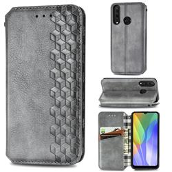 Ultra Slim Fashion Business Card Magnetic Automatic Suction Leather Flip Cover for Huawei Y6p - Grey
