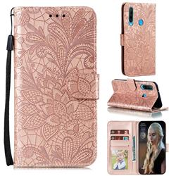 Intricate Embossing Lace Jasmine Flower Leather Wallet Case for Huawei Y6p - Rose Gold