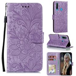 Intricate Embossing Lace Jasmine Flower Leather Wallet Case for Huawei Y6p - Purple