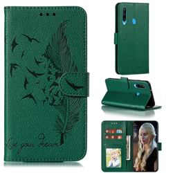 Intricate Embossing Lychee Feather Bird Leather Wallet Case for Huawei Y6p - Green