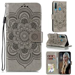 Intricate Embossing Datura Solar Leather Wallet Case for Huawei Y6p - Gray