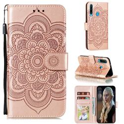 Intricate Embossing Datura Solar Leather Wallet Case for Huawei Y6p - Rose Gold