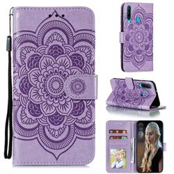Intricate Embossing Datura Solar Leather Wallet Case for Huawei Y6p - Purple