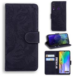 Intricate Embossing Tiger Face Leather Wallet Case for Huawei Y6p - Black