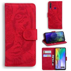 Intricate Embossing Tiger Face Leather Wallet Case for Huawei Y6p - Red