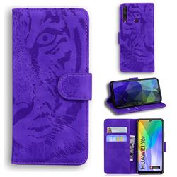 Intricate Embossing Tiger Face Leather Wallet Case for Huawei Y6p - Purple
