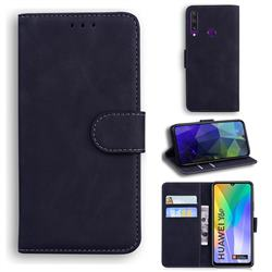 Retro Classic Skin Feel Leather Wallet Phone Case for Huawei Y6p - Black