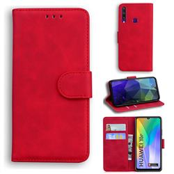 Retro Classic Skin Feel Leather Wallet Phone Case for Huawei Y6p - Red