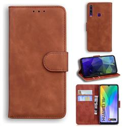 Retro Classic Skin Feel Leather Wallet Phone Case for Huawei Y6p - Brown