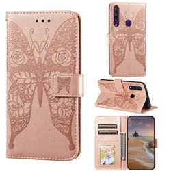 Intricate Embossing Rose Flower Butterfly Leather Wallet Case for Huawei Y6p - Rose Gold