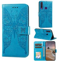 Intricate Embossing Rose Flower Butterfly Leather Wallet Case for Huawei Y6p - Blue