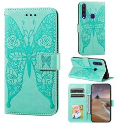 Intricate Embossing Rose Flower Butterfly Leather Wallet Case for Huawei Y6p - Green