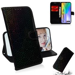 Laser Circle Shining Leather Wallet Phone Case for Huawei Y6p - Black