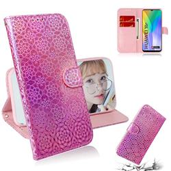 Laser Circle Shining Leather Wallet Phone Case for Huawei Y6p - Pink